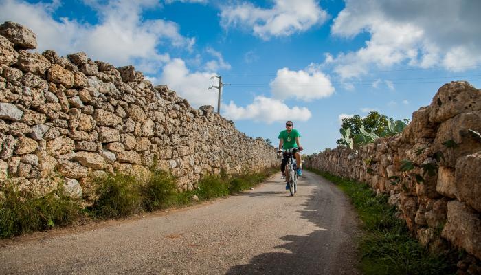 cykeltur på landsvägar med stenmurar i salento
